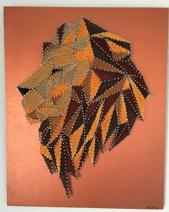 Tableau-string-art-animaux-lion