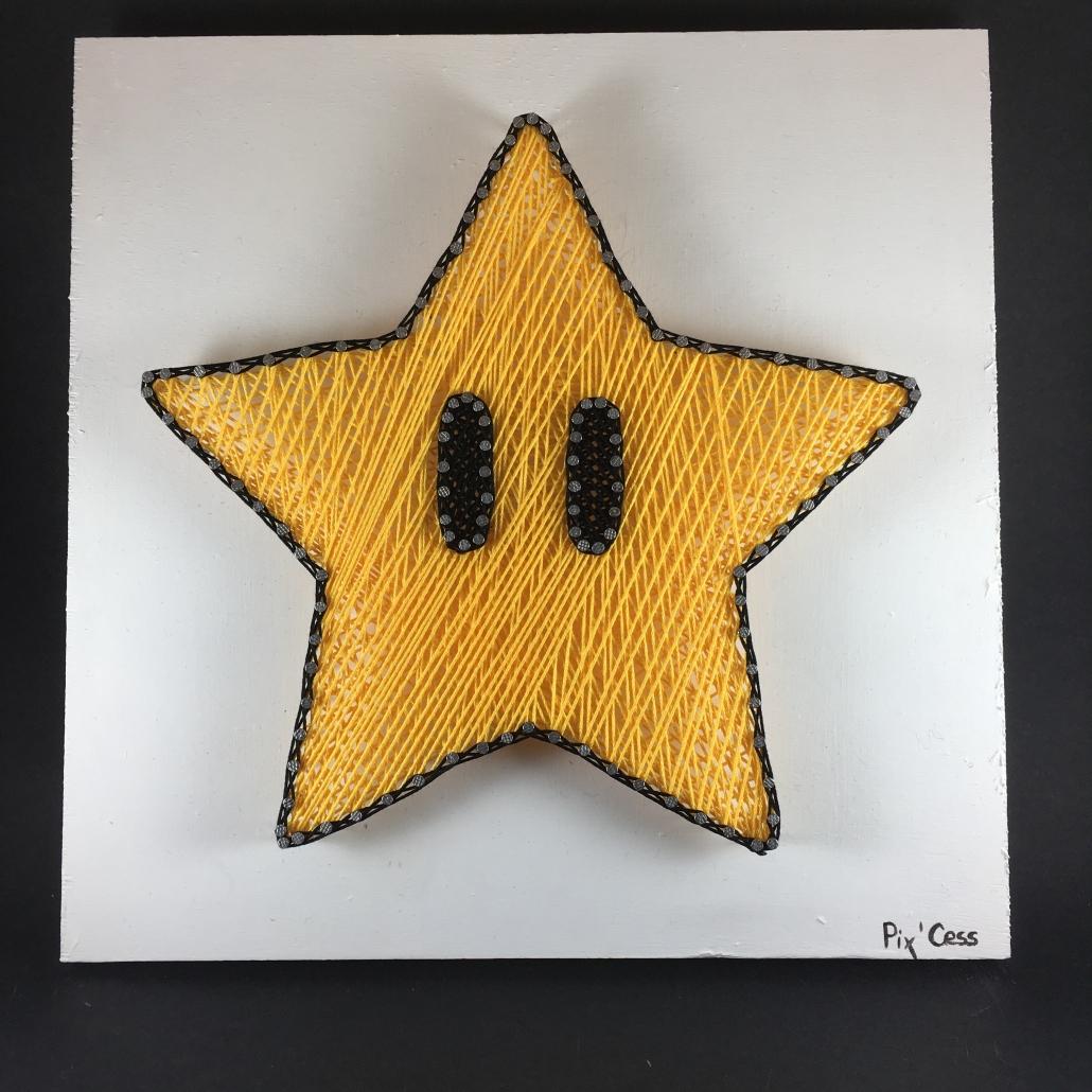 Tableau-string-art-mario-etoile
