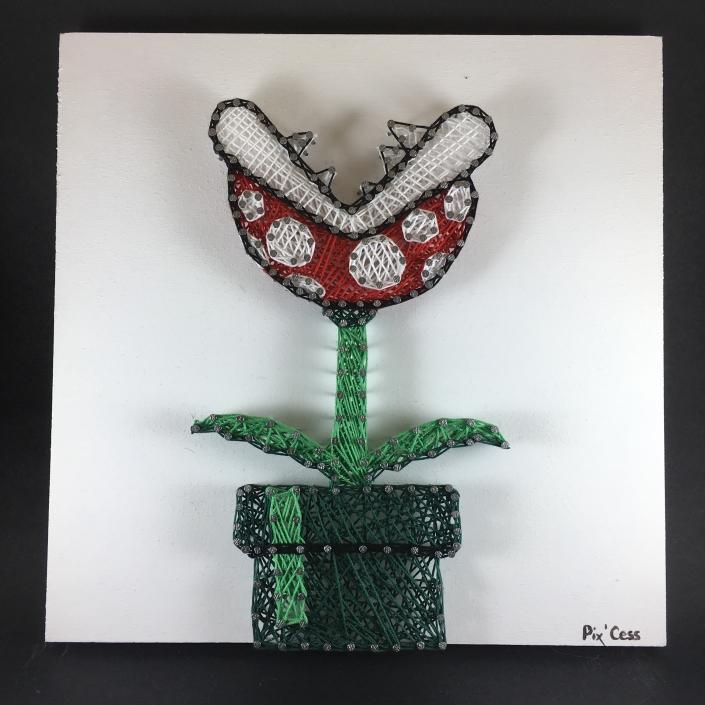 Tableau-string-art-mario-plante