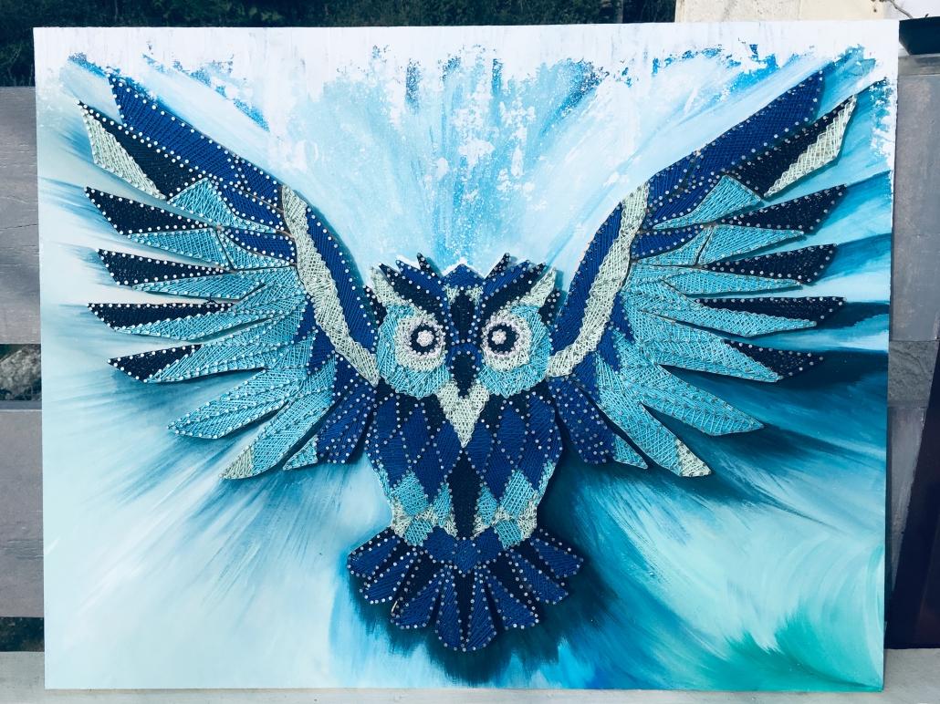 Tableau Hiboux bleu