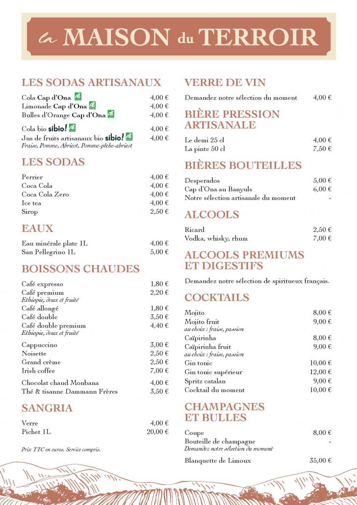 Cécile Thore création Maison du terroir carte restaurant
