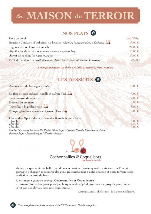 Cécile Thore création Maison du terroir carte restaurant 2